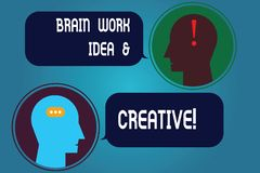 Writing note showing Brain Work Idea And Creative. Business photo showcasing Creativity brainstorm Innovative thinking stock images