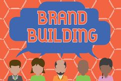 Writing note showing Brand Building. Business photo showcasing Generating awareness Establishing and promoting company. Writing note showing Brand Building royalty free illustration