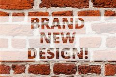 Writing note showing Brand New Design. Business photo showcasing something or product that has unique looking and. Features Brick Wall art like Graffiti royalty free stock photo