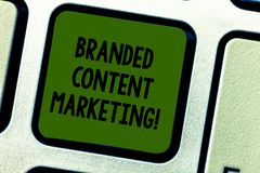 Writing note showing Branded Content Marketing. Business photo showcasing Involves creating content linked to a brand. Keyboard key Intention to create computer royalty free stock photo
