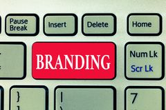 Writing note showing Branding. Business photo showcasing Assign brand name to something Business marketing strategy.  stock image