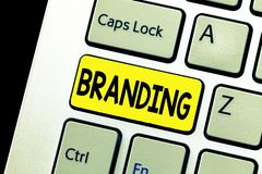 Writing note showing Branding. Business photo showcasing Assign brand name to something Business marketing strategy.  royalty free stock image