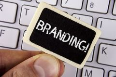 Writing note showing  Branding Motivational Call. Business photo showcasing Creating a unique identity for new startup agencies wr. Itten Wood Piece holding by Royalty Free Stock Photos