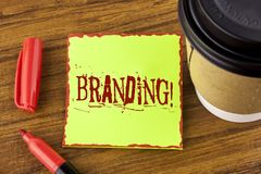 Writing note showing  Branding Motivational Call. Business photo showcasing Creating a unique identity for new startup agencies wr. Itten Sticky Note Paper Stock Photos
