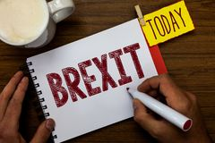 Writing note showing Brexit. Business photo showcasing term potential departure of United Kingdom from European Union stock photography