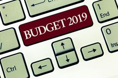 Writing note showing Budget 2019. Business photo showcasing New year estimate of incomes and expenses Financial Plan.  stock images