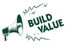 Writing note showing Build Value. Business photo showcasing efficient enough way that it will generate profit after cost Black meg