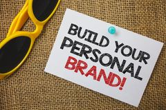 Writing note showing Build Your Personal Brand Motivational Call. Business photo showcasing creating successful company Sunglass. Paper wonderful white royalty free stock photos