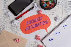 Writing note showing Business Automation. Business photo showcasing for Digital Transformation Streamlined for. Writing note showing Business Automation royalty free stock images
