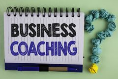 Writing note showing  Business Coaching. Business photo showcasing consulting expert your field Experience improvement written on. Writing note showing  Business Royalty Free Stock Photography