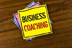 Writing note showing  Business Coaching. Business photo showcasing consulting expert your field Experience improvement written on. Writing note showing  Business Royalty Free Stock Photos