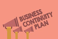 Writing note showing Business Continuity Plan. Business photo showcasing creating systems prevention deal potential threats Hands. Holding megaphones royalty free stock photography
