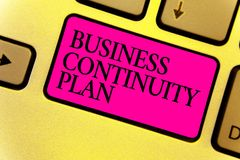 Writing note showing Business Continuity Plan. Business photo showcasing creating systems prevention deal potential threats Keyboa. Rd pink key Intention stock photo