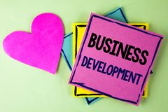 Writing note showing  Business Development. Business photo showcasing Develop and Implement Organization Growth Opportunities writ. Ten Pink Sticky Note Paper Royalty Free Stock Photos