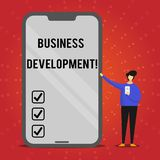 Writing note showing Business Development. Business photo showcasing Develop and Implement Organization Growth. Opportunities stock illustration
