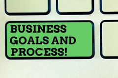 Writing note showing Business Goals And Process. Business photo showcasing Working strategies accomplish objectives. Keyboard key Intention to create computer royalty free stock image