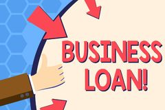 Writing note showing Business Loan. Business photo showcasing Loans provided to small businesses for various purposes. Writing note showing Business Loan stock illustration