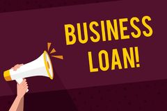 Writing note showing Business Loan. Business photo showcasing Loans provided to small businesses for various purposes. Writing note showing Business Loan vector illustration