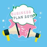 Writing note showing Business Plan 2019. Business photo showcasing Challenging Business Ideas and Goals for New Year.  vector illustration