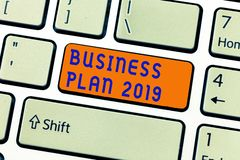 Writing note showing Business Plan 2019. Business photo showcasing Challenging Business Ideas and Goals for New Year.  stock illustration