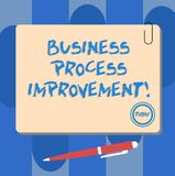Writing note showing Business Process Improvement. Business photo showcasing optimize process inefficiencies and. Accuracy Square Color Board with Magnet Click vector illustration