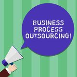 Writing note showing Business Process Outsourcing. Business photo showcasing Contracting work to external service. Provider Hu analysis Hand Holding Megaphone vector illustration