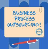Writing note showing Business Process Outsourcing. Business photo showcasing Contracting work to external service. Provider Square Color Board with Magnet Click vector illustration