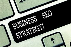 Writing note showing Business Seo Strategy. Business photo showcasing Optimization of website to rise the number of. Visits Keyboard key Intention to create stock image
