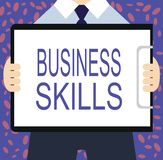 Writing note showing Business Skills. Business photo showcasing An ability to acquire systematic effort of job functions.  Vector Illustration