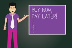 Writing note showing Buy Now Pay Later. Business photo showcasing Credit to purchase things payment time after buying royalty free illustration