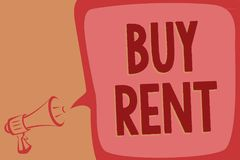 Writing note showing Buy Rent. Business photo showcasing choosing between purchasing something or paying for usage Megaphone louds. Peaker speech bubble vector illustration