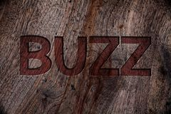Writing note showing Buzz. Business photo showcasing Hum Murmur Drone Fizz Ring Sibilation Whir Alarm Beep Chime Wooden backgroun. D vintage wood board wild royalty free stock photography
