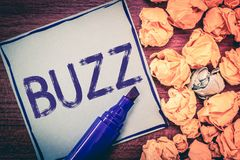 Writing note showing Buzz. Business photo showcasing Move quickly Atmosphere of excitement and activity Rumor Telephone. Call royalty free stock images