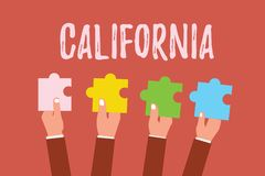 Writing note showing California. Business photo showcasing State on west coast United States of America Beaches. Hollywood vector illustration
