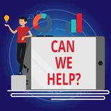Writing note showing Can We Help. Business photo showcasing Offering assistance support expert advice for your problems. Writing note showing Can We Help royalty free illustration