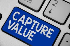 Writing note showing Capture Value. Business photo showcasing Customer Relationship Satisfy Needs Brand Strength Retention Keyboar. D blue key Intention computer stock photo