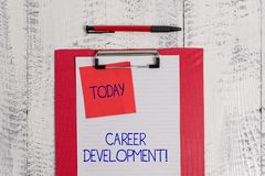 Writing note showing Career Development. Business photo showcasing Lifelong learning Improving skills to get a better. Writing note showing Career Development royalty free stock photography