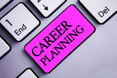 Writing note showing Career Planning. Business photo showcasing Professional Development Educational Strategy Job Growth Text two. Words pink insert button key royalty free stock image
