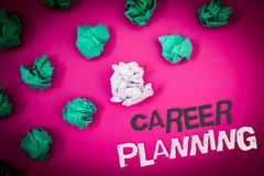 Writing note showing Career Planning. Business photo showcasing Professional Development Educational Strategy Job Growth Text Wor. Ds pink background crumbled stock photo