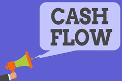 Writing note showing Cash Flow. Business photo showcasing Movement of the money in and out affecting the liquidity Man hold Megaph. One loudspeaker computer Royalty Free Stock Image