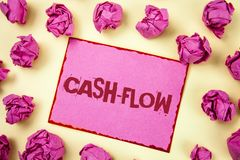 Writing note showing  Cash-Flow. Business photo showcasing Virtual movement of money by company finance department statistics writ. Ten Pink Sticky Note Paper Stock Photo