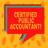 Writing note showing Certified Public Accountant. Business photo showcasing accredited professional body of accountants. Stack of Speech Bubble Different Color royalty free illustration