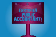 Writing note showing Certified Public Accountant. Business photo showcasing accredited professional body of accountants. Blank Lamp Lighted Color Signage stock illustration