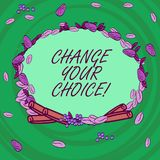 Writing note showing Change Your Choice. Business photo showcasing to improve ones behavior habits or beliefs by himself. Wreath Made of Different Color Seeds stock illustration
