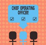 Writing note showing Chief Operating Officer. Business photo showcasing responsible for the daily operation of the company Space. Color Arrow Pointing to One of vector illustration