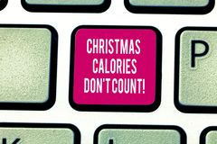 Writing note showing Christmas Calories Don T Count. Business photo showcasing Eat whatever you want in holiday seasons. Keyboard key Intention to create stock image