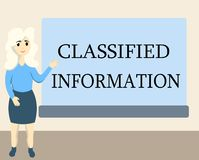 Writing note showing Classified Information. Business photo showcasing Sensitive Data Top Secret Unauthorized Disclosure.  stock illustration