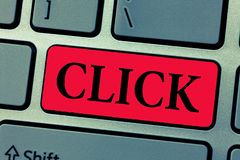 Writing note showing Click. Business photo showcasing Act of pressing a button on a mouse similar device Sharp short. Sound stock photos