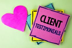 Writing note showing  Client Testimonials. Business photo showcasing Customer Personal Experiences Reviews Opinions Feedback writt. En Pink Sticky Note Paper Royalty Free Stock Photography