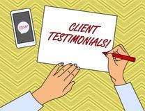 Writing note showing Client Testimonials. Business photo showcasing Written Declaration Certifying demonstratings. Writing note showing Client Testimonials stock illustration